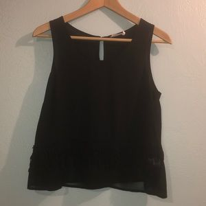 Lush Black Sleeveless Blouse w/ Crochet Detailing